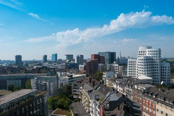 View of Dusseldorf city with the media harbor at summer- Stock Photo or Stock Video of rcfotostock | RC-Photo-Stock