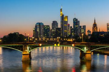 View of Frankfurt am Main skyline at Sunset Germany- Stock Photo or Stock Video of rcfotostock | RC-Photo-Stock