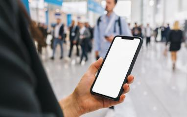view of phone in female hands with empty screen, with crowd of people, copyspace for your individual text.- Stock Photo or Stock Video of rcfotostock | RC-Photo-Stock
