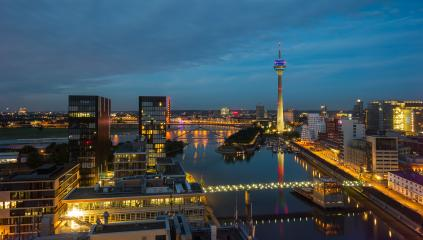 View of the Dusseldorf Skyline at sunset- Stock Photo or Stock Video of rcfotostock | RC-Photo-Stock