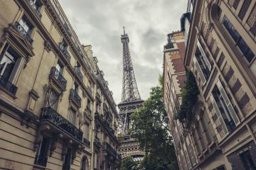 View of the Eiffel Tower from a tiny street, Paris, France- Stock Photo or Stock Video of rcfotostock | RC-Photo-Stock