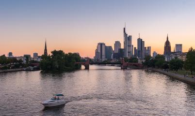 view of the european city Frankfurt am main at sunset- Stock Photo or Stock Video of rcfotostock | RC-Photo-Stock