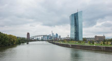 view of the frankfurt Skyline with the headquarters of the European Central Bank or ECB at a cloudy day- Stock Photo or Stock Video of rcfotostock | RC-Photo-Stock