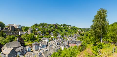 view of the historic city of Monschau at summer- Stock Photo or Stock Video of rcfotostock | RC-Photo-Stock