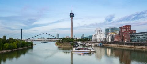 View of the media harbor in Dusseldorf at sunset time with cloud- Stock Photo or Stock Video of rcfotostock | RC-Photo-Stock