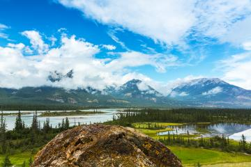 View of the North Saskatchewan Riveron the Icefields parkway jasper canada  : Stock Photo or Stock Video Download rcfotostock photos, images and assets rcfotostock | RC-Photo-Stock.: