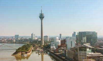 View of the of Dusseldorf at the river Rhine in Germany- Stock Photo or Stock Video of rcfotostock | RC-Photo-Stock