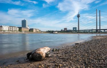view of the skyline of Dusseldorf from the rhine shore in German- Stock Photo or Stock Video of rcfotostock | RC-Photo-Stock
