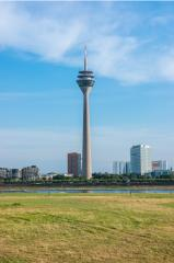 View of the tower Rheinturm of Dusseldorf in Germany Europe- Stock Photo or Stock Video of rcfotostock | RC-Photo-Stock