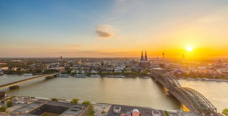 view on Cologne at sunset in summer- Stock Photo or Stock Video of rcfotostock | RC-Photo-Stock