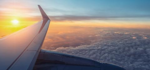 View on the sunset and airplane wing from the inside- Stock Photo or Stock Video of rcfotostock | RC-Photo-Stock