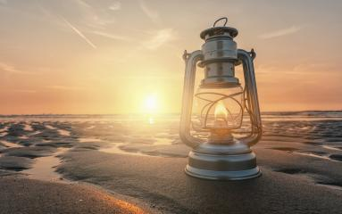 vintage lantern at sunset, romantic evening at the beach- Stock Photo or Stock Video of rcfotostock | RC-Photo-Stock
