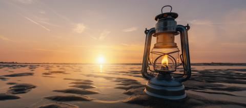 vintage lantern at sunset, romantic evening at the beach, banner size : Stock Photo or Stock Video Download rcfotostock photos, images and assets rcfotostock | RC-Photo-Stock.: