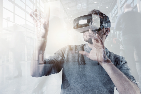 Virtual Reality Experience Conceptual Image with Young Men Wearing Modern VR Goggle at a trade fair- Stock Photo or Stock Video of rcfotostock | RC-Photo-Stock