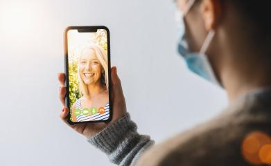 Virtual talking with friends, colleague and using video chat conference. Remote learning or work. Home quarantine or prevention of coronavirus infection (virus covid-19). Woman using smartphone. - Stock Photo or Stock Video of rcfotostock | RC-Photo-Stock