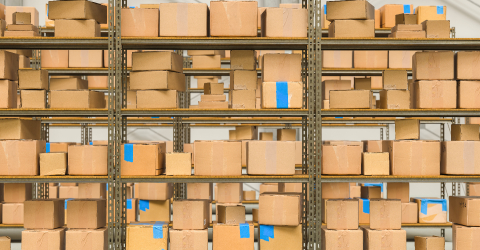warehouse interior with shelves and cardboard boxes, Packed courier delivery concept image- Stock Photo or Stock Video of rcfotostock | RC-Photo-Stock