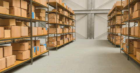 warehouse view with shelves and cardboard boxes, Packed courier delivery concept image- Stock Photo or Stock Video of rcfotostock | RC-Photo-Stock