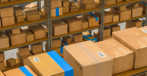 warehouse with shelves and cardboard boxes, Packed courier delivery concept image : Stock Photo or Stock Video Download rcfotostock photos, images and assets rcfotostock | RC-Photo-Stock.: