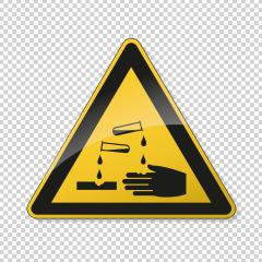 Warning corrosive substances and chemicals. Safety signs, warning Sign or Danger symbol BGV hazard pictogram - corrosive , hazard warning sign corrosive substance on transparent  background. EPS 10.- Stock Photo or Stock Video of rcfotostock | RC-Photo-Stock