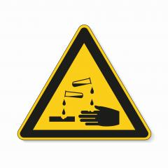 Warning corrosive substances and chemicals. Safety signs, warning Sign or Danger symbol BGV hazard pictogram - corrosive , hazard warning sign corrosive substance on white background. Vector EPS 10.- Stock Photo or Stock Video of rcfotostock | RC-Photo-Stock