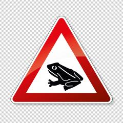 Warning frog, toad migration and save frogs. Traffic sign attention frogs crossing the road on checked transparent background. Vector illustration. Eps 10 vector file.- Stock Photo or Stock Video of rcfotostock | RC-Photo-Stock