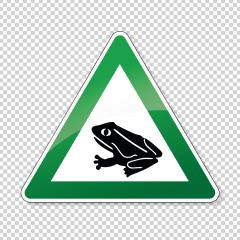 Warning frog, toad migration and save frogs. Traffic sign in green color attention frogs crossing the road on checked transparent background. Vector illustration. Eps 10 vector file.- Stock Photo or Stock Video of rcfotostock | RC-Photo-Stock