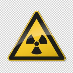 Warning radioactive zone. Safety signs, warning Sign or Danger symbol BGV hazard pictogram, for Radioactivity. Dangerous radiation area on checked transparent background. Vector illustration. Eps 10.- Stock Photo or Stock Video of rcfotostock | RC-Photo-Stock