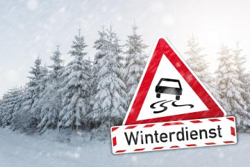 warning sign German word Winterdienst (winter services) with car for ice smoothness at the winter season : Stock Photo or Stock Video Download rcfotostock photos, images and assets rcfotostock | RC-Photo-Stock.: