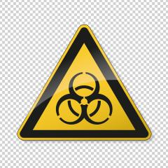 Warning sign of virus. Safety signs, warning Sign or Danger symbol BGV hazard pictogram, Biohazard biological threat alert icon on checked transparent background. Vector illustration. Eps 10.- Stock Photo or Stock Video of rcfotostock | RC-Photo-Stock