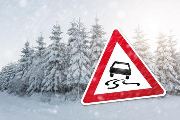 warning sign with car for ic smoothness at the winter season : Stock Photo or Stock Video Download rcfotostock photos, images and assets rcfotostock | RC-Photo-Stock.:
