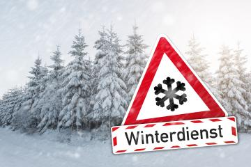 warning sign with German word Winterdienst (winter services) with snow flake for snowfall at the winter season : Stock Photo or Stock Video Download rcfotostock photos, images and assets rcfotostock | RC-Photo-Stock.: