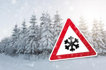 warning sign with snow flake for snowfall at the winter season : Stock Photo or Stock Video Download rcfotostock photos, images and assets rcfotostock | RC-Photo-Stock.: