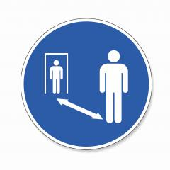 Warning social distance sign. Covid-19 (coronavirus) safety distance between people in entrance doors sign, mandatory sign or safety sign, on white background. Vector illustration. Eps 10 vector file.- Stock Photo or Stock Video of rcfotostock | RC-Photo-Stock