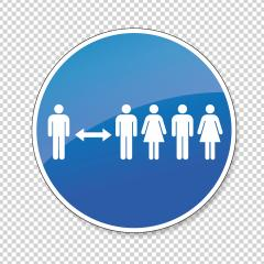 Warning social distance sign. Covid-19 (coronavirus) safety distance between people woamn and man sign, mandatory sign or safety sign, on checked transparent background. Vector Eps 10.- Stock Photo or Stock Video of rcfotostock | RC-Photo-Stock