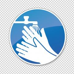 Wash your hands. hands must be washed for Coronavirus 2019-nCoV, mandatory sign or safety sign, on checked transparent background. Vector Eps 10.- Stock Photo or Stock Video of rcfotostock | RC-Photo-Stock