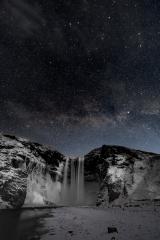 Wasserfall Skogarfoss bei Nacht mit Michstrasse im Winter, Island : Stock Photo or Stock Video Download rcfotostock photos, images and assets rcfotostock | RC-Photo-Stock.: