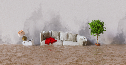 Water damage in house after flooding with stains on the wall- Stock Photo or Stock Video of rcfotostock | RC-Photo-Stock