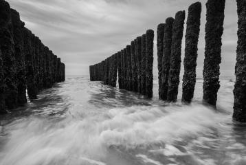 wave breakers at the north sea in black and white colors- Stock Photo or Stock Video of rcfotostock | RC-Photo-Stock