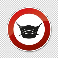 Wear a face mask or makeshift mask for coronavirus pandemic, prohibition sign, on checked transparent background. Vector illustration. Eps 10 vector file.- Stock Photo or Stock Video of rcfotostock | RC-Photo-Stock