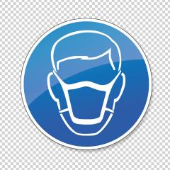 Wear a face mask. Wear dust mask, mandatory sign or safety sign, on checked transparent background. Vector illustration. Eps 10 vector file. : Stock Photo or Stock Video Download rcfotostock photos, images and assets rcfotostock | RC-Photo-Stock.: