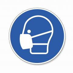 Wear a face mask. Wear dust mask, mandatory sign or safety sign, on white background. Vector illustration. Eps 10 vector file.- Stock Photo or Stock Video of rcfotostock | RC-Photo-Stock