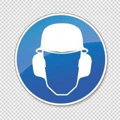 Wear ear and head protection and Helmet. Ear and Head helmet protection must be worn, mandatory sign or safety sign, on checked transparent background. Vector illustration. Eps 10 vector file.- Stock Photo or Stock Video of rcfotostock | RC-Photo-Stock