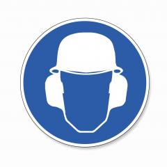Wear ear and head protection and Helmet. Ear and Head helmet protection must be worn, mandatory sign or safety sign, on white background. Vector illustration. Eps 10 vector file. : Stock Photo or Stock Video Download rcfotostock photos, images and assets rcfotostock | RC-Photo-Stock.: