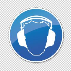 Wear ear protection. Ear protection must be worn, mandatory sign or safety sign, on checked transparent background. Vector illustration. Eps 10 vector file.- Stock Photo or Stock Video of rcfotostock | RC-Photo-Stock