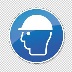 Wear head protection. Please Wear Head helmet Protection, mandatory sign or safety sign, on checked transparent background. Vector Eps 10. : Stock Photo or Stock Video Download rcfotostock photos, images and assets rcfotostock   RC-Photo-Stock.:
