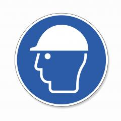 Wear head protection. Please Wear Head helmet Protection, mandatory sign or safety sign, on white background. Vector illustration. Eps 10 vector file.- Stock Photo or Stock Video of rcfotostock | RC-Photo-Stock