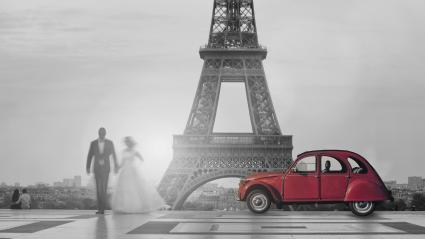 wedding couple with red classic car at the Trocadero with the Eiffel Tower, Paris, France- Stock Photo or Stock Video of rcfotostock | RC-Photo-Stock