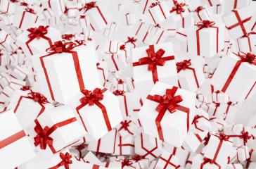 White christmas gifts or presents with red ribbon : Stock Photo or Stock Video Download rcfotostock photos, images and assets rcfotostock | RC-Photo-Stock.: