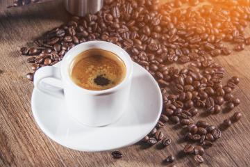 White Cup of Espresso on wooden table. Top view.- Stock Photo or Stock Video of rcfotostock | RC-Photo-Stock
