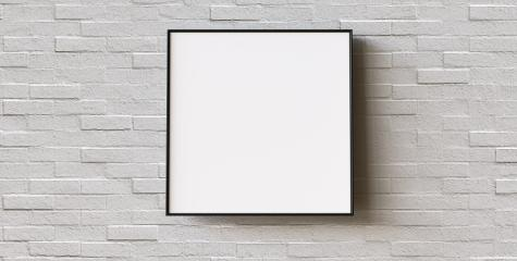 White frame on brick wall background. Modern picture frame, Empty white border frame, Blank picture frame on white wall template minimal concept.- Stock Photo or Stock Video of rcfotostock | RC-Photo-Stock